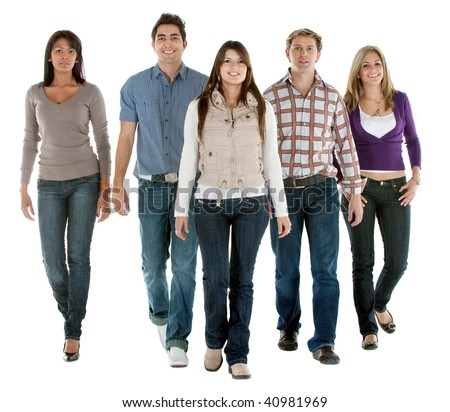 Casual group of people walking isolated over a white background - stock photo