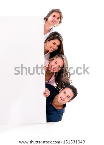 Casual group of people with a banner - isolated over a white background