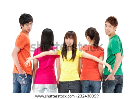 casual group of people with a woman facing the camera - stock photo