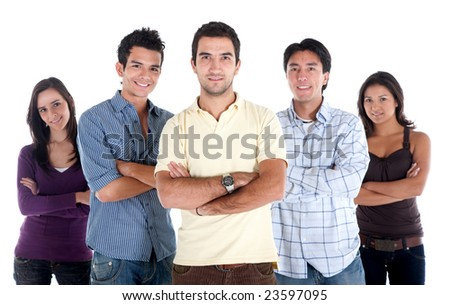 Casual group of people with their arms crossed isolated on white - stock photo