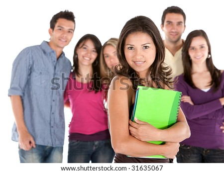 Casual group of student friends isolated over a white background