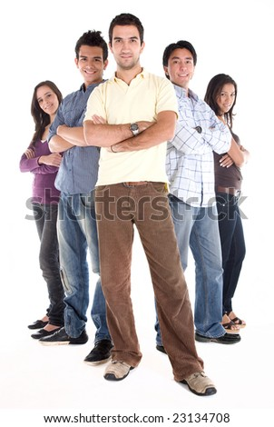casual group of young people smiling isolated over a white background - stock photo