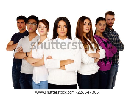 Casual group of young serious people isolated on a white - stock photo