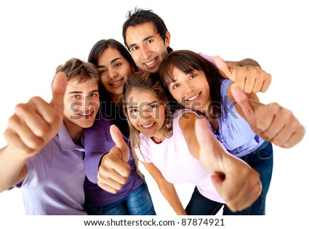Casual group with thumbs-up - isolated over a white background - stock photo