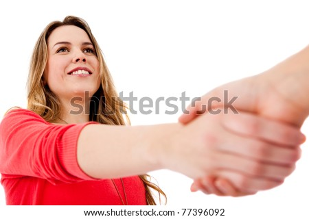 Casual handshake - isolated over a white background - stock photo