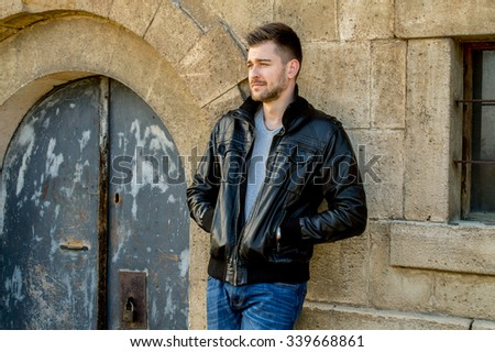 Casual handsome attractive man hipster guy - stock photo