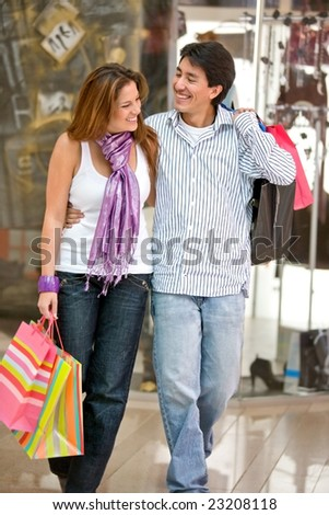 casual happy couple on a shooping day
