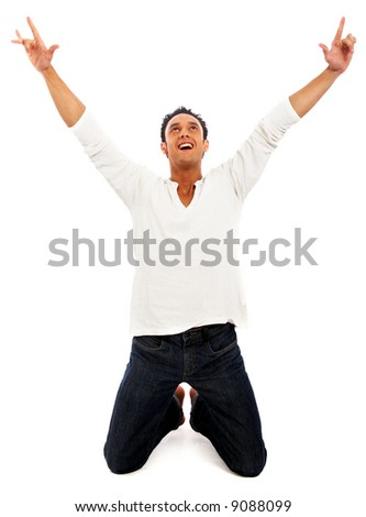 casual happy man celebrating his success isolated over a white background - stock photo