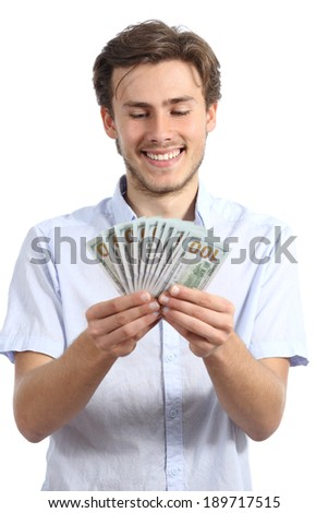 Casual happy man holding money isolated on a white background - stock photo