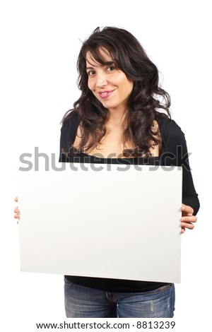 Casual happy young woman holding the blank banner on white background