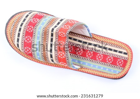 Casual home slippers on white background - stock photo