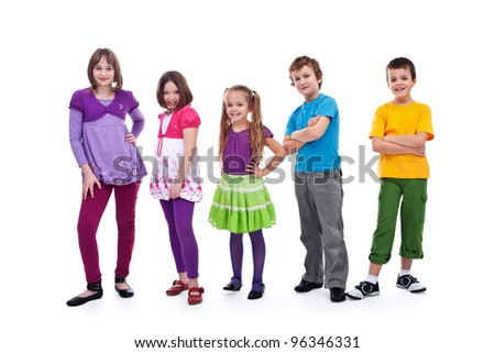 Casual kids in a row smiling and posing - isolated - stock photo