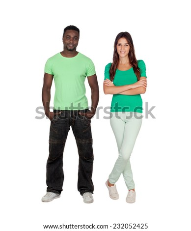 Casual male guy and pretty young woman isolated on a white background - stock photo