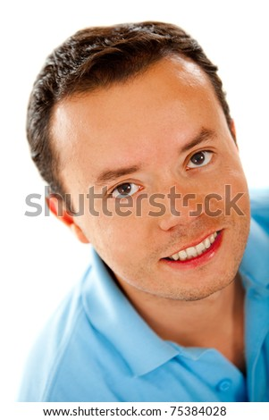 Casual male portrait smiling - isolated over a white background