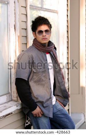 Casual male series: against the wall - stock photo