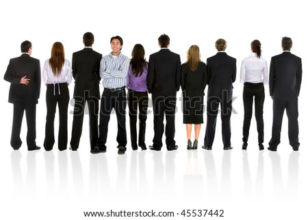 Casual man among a group of business people isolated