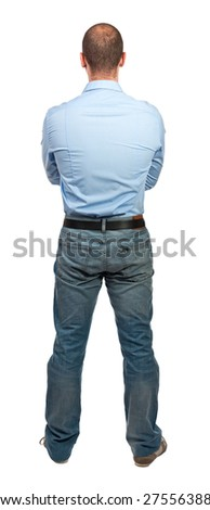 casual man back view isolated on white - stock photo