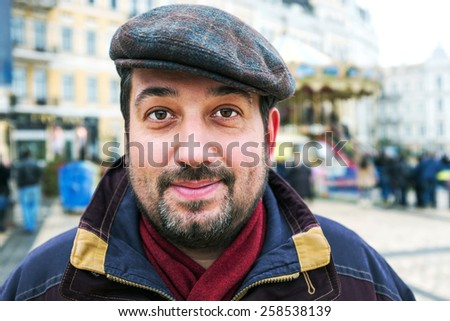Casual man emotion portrait outdoor - stock photo