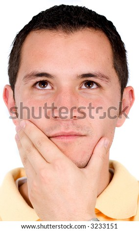 casual man full of thoughts isolated over a white background