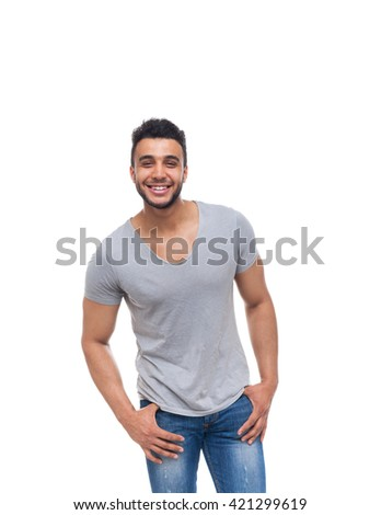 Casual man happy smile young handsome guy wear shirt jeans isolated white background - stock photo