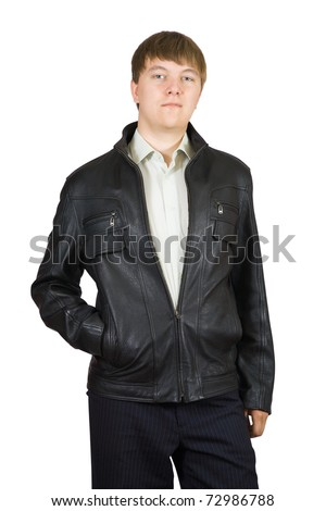 casual man in  jacket.  Isolated over a white background