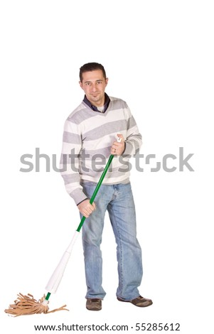 Casual Man in Jeans Cleaning the Floor with a Mop - Isolated Background - stock photo
