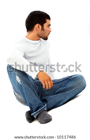 casual man in jeans isolated over a white background