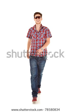 Casual Man is walking towards the camera  on White - stock photo