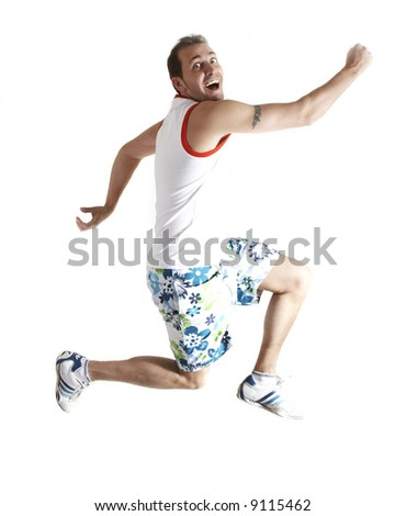 Casual man jumping, isolated on white