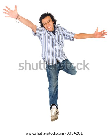 casual man jumping of joy – isolated over a white background
