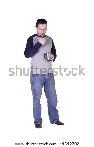 Casual Man Lighting his Cigarette and Drinking Coffee - Isolated Background - stock photo