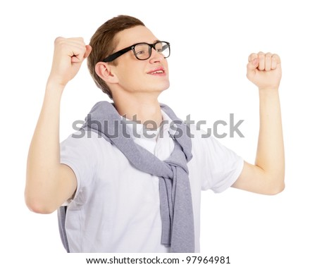 Casual man looking  happy with his arms up, isolated on white background