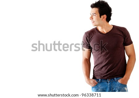 Casual man looking to the side - isolated over a white background - stock photo