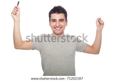 casual man phone success portrait isolated on white background - stock photo