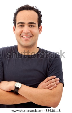 Casual man portrait smiling isolated on white