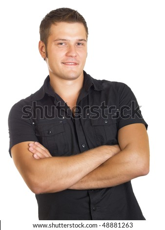 casual man portrait smiling on the white background