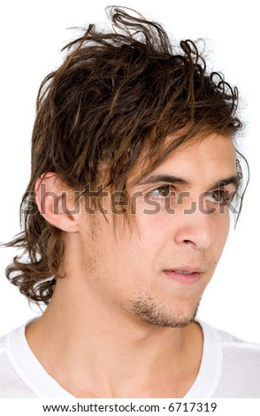 casual man portrait with messy hair - isolated over a white background