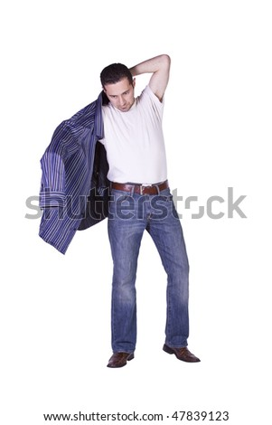 Casual Man Putting His Shirt On Getting Ready - Isolated Background