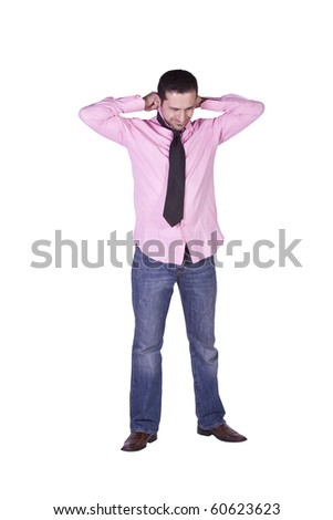 Casual Man Putting His Tie On Getting Ready - Isolated Background
