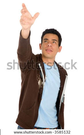 casual man reaching out with his hand - isolated over a white background - stock photo