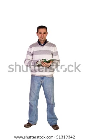 Casual Man Reading a Book Standing Up - Isolated Background - stock photo