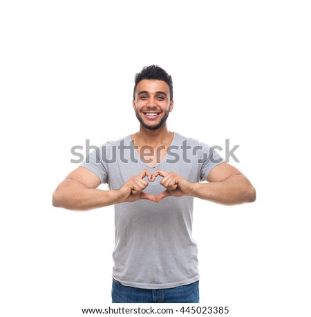 Casual Man Show Heart Shape Finger Gesture Happy Smile Young Handsome Guy Wear Shirt Jeans Isolated White Background - stock photo