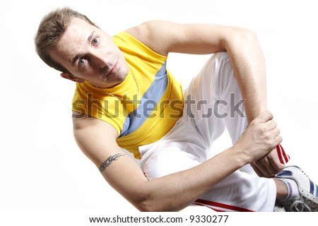 Casual man sitting looking with sad face looking at you - stock photo