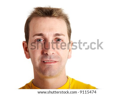 Casual man smiling, isolated on white - stock photo