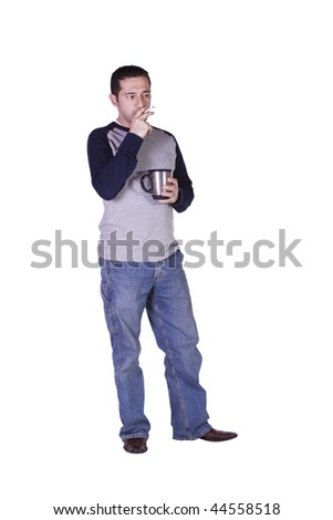 Casual Man Smoking and Drinking Coffee - Isolated Background - stock photo