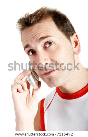 casual man speaking with a cell phone - stock photo