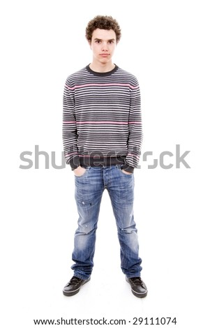 casual man standing isolated over a white background