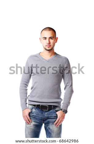 Casual Man Standing On White - stock photo