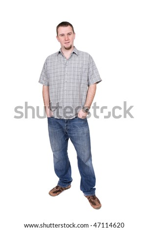casual man standing on white background