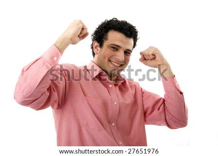 casual man symbolizing victory - stock photo
